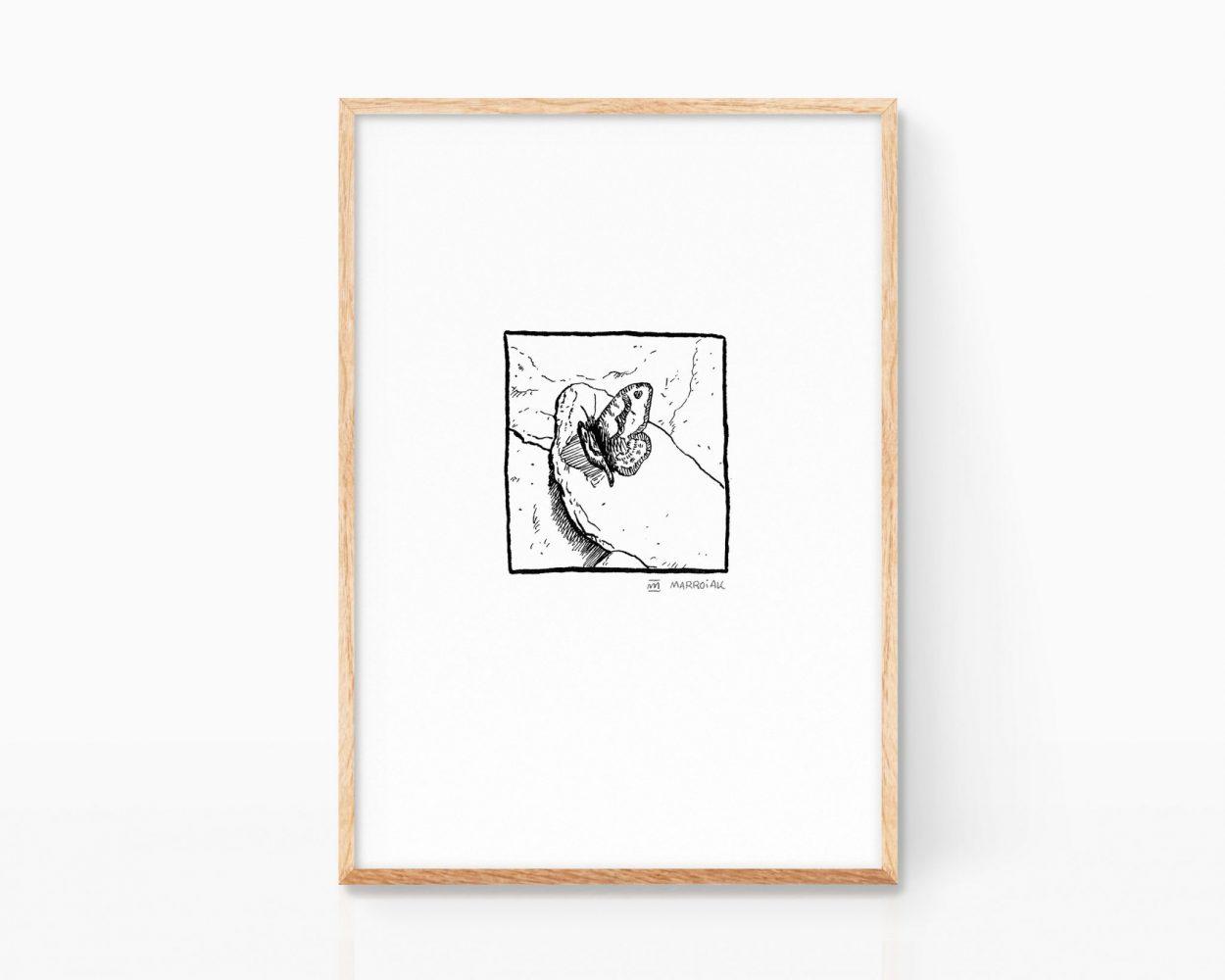 Lámina decorativa para enmarcar con una ilustración de una mariposa posada sobre una piedra. Cuadro zen para casas permaculturales. Naturaleza tranquila.