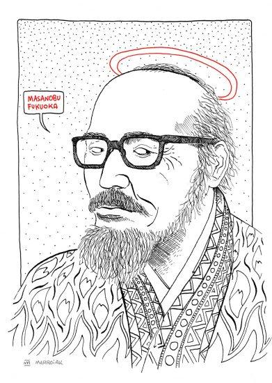 Dibujo en blanco y negro del agricultor japonés Masanobu Fukuoka. Padre de la permacultura