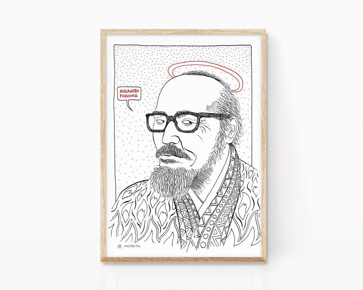 Ilustración retrato masanobu fukuoka. Agricultor japonés permacultura. Dibujo en blanco y negro