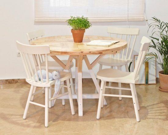 Mesa redonda extensible de madera hecha a mano. Decoración nórdica y mediterránea. Muebles para el salón artesanales