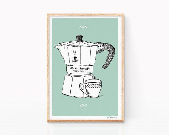 Lámina decorativa para cocina con una ilustración de una cafetera y una taza de café. Preparada para enmarcar venta online
