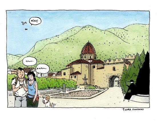 Dibujo del monasterio de simat de la Valldigna en la comarca de La Safor, Valencia