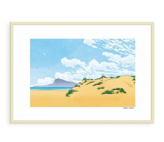 Dibujo de la playa de Oliva con el montgó de fondo. Ilustraciones de Valencia, la Safor y Alicante.