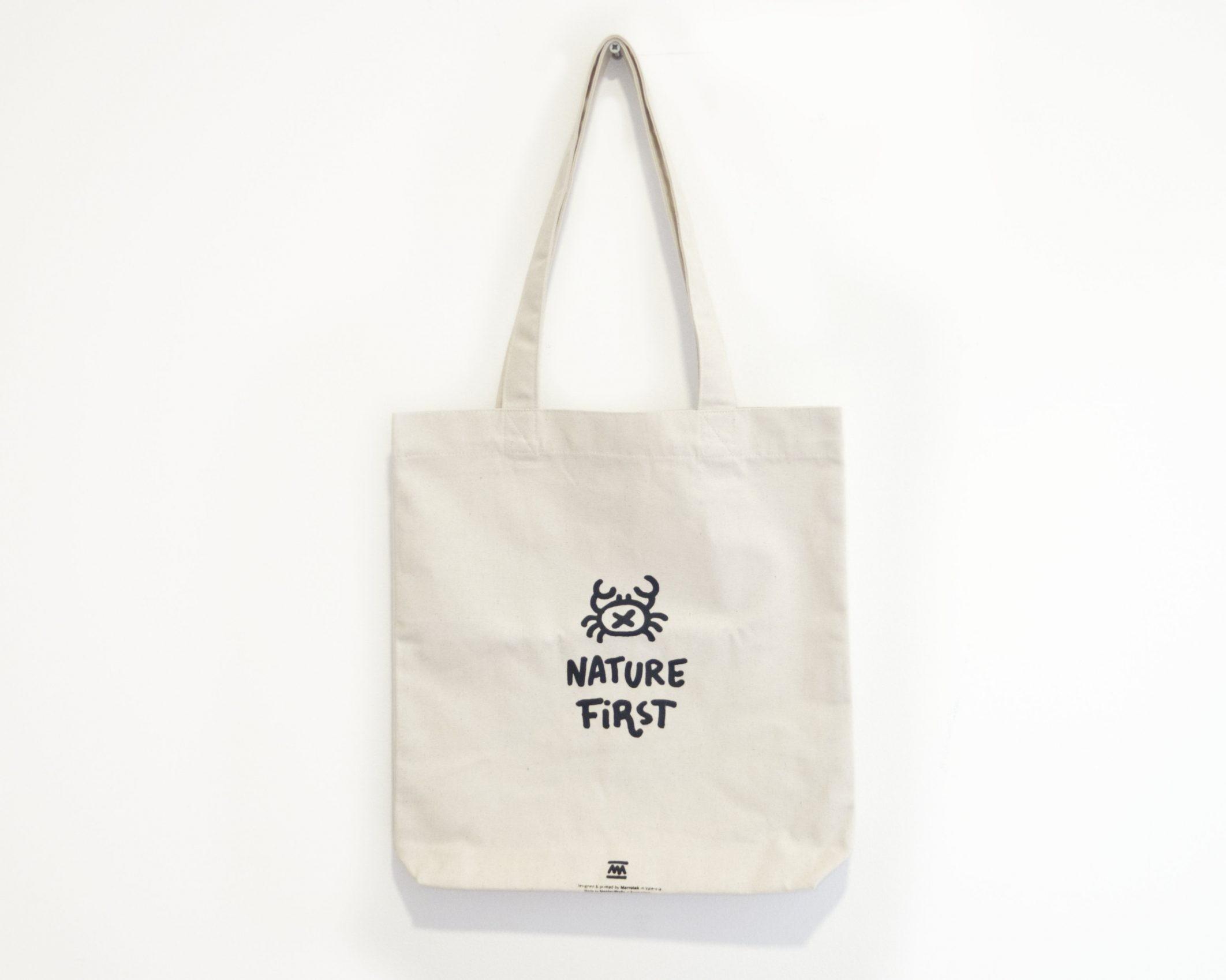 Tote Bag blanco natural nature first - ilustración cangrejo - Comercio Justo Algodón orgánico reciclado