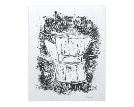 Dibujo original impreso con grabado en linóleo en blanco y negro a una tinta. Cuadro para enmarcar decorativo de cocina