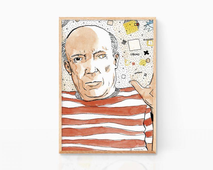 Cuadro decorativo con una ilustración del pintor cubista Pablo Picasso. Artista de vanguardia español (y francés)