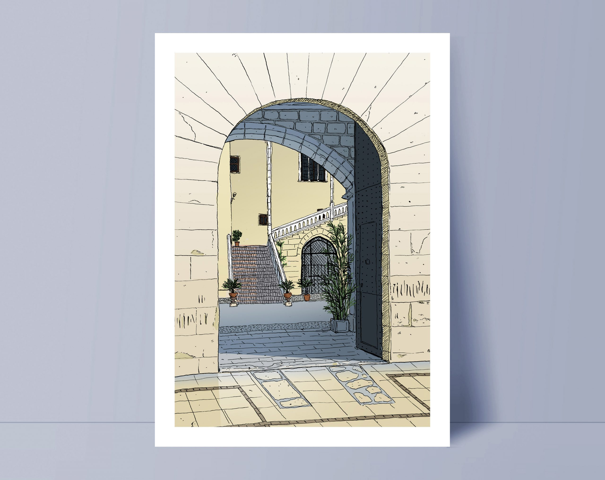 Dibujo del Palau dels Borja en Gandia