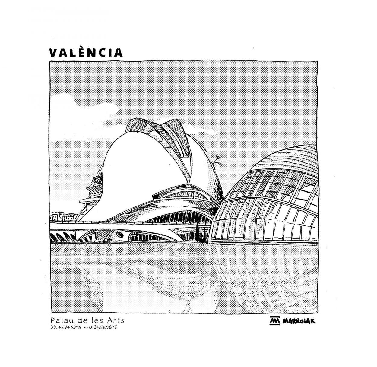 Dibujo en blanco y negro del Palau de les Arts en la Ciudad de las Artes y de las Ciencias en Valencia. Arquitectura. Diseño.