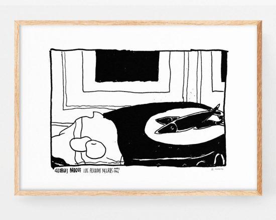 Lámina con una ilustración basada en la pintura del artista cubista george braque. Dibujo Vanguardias