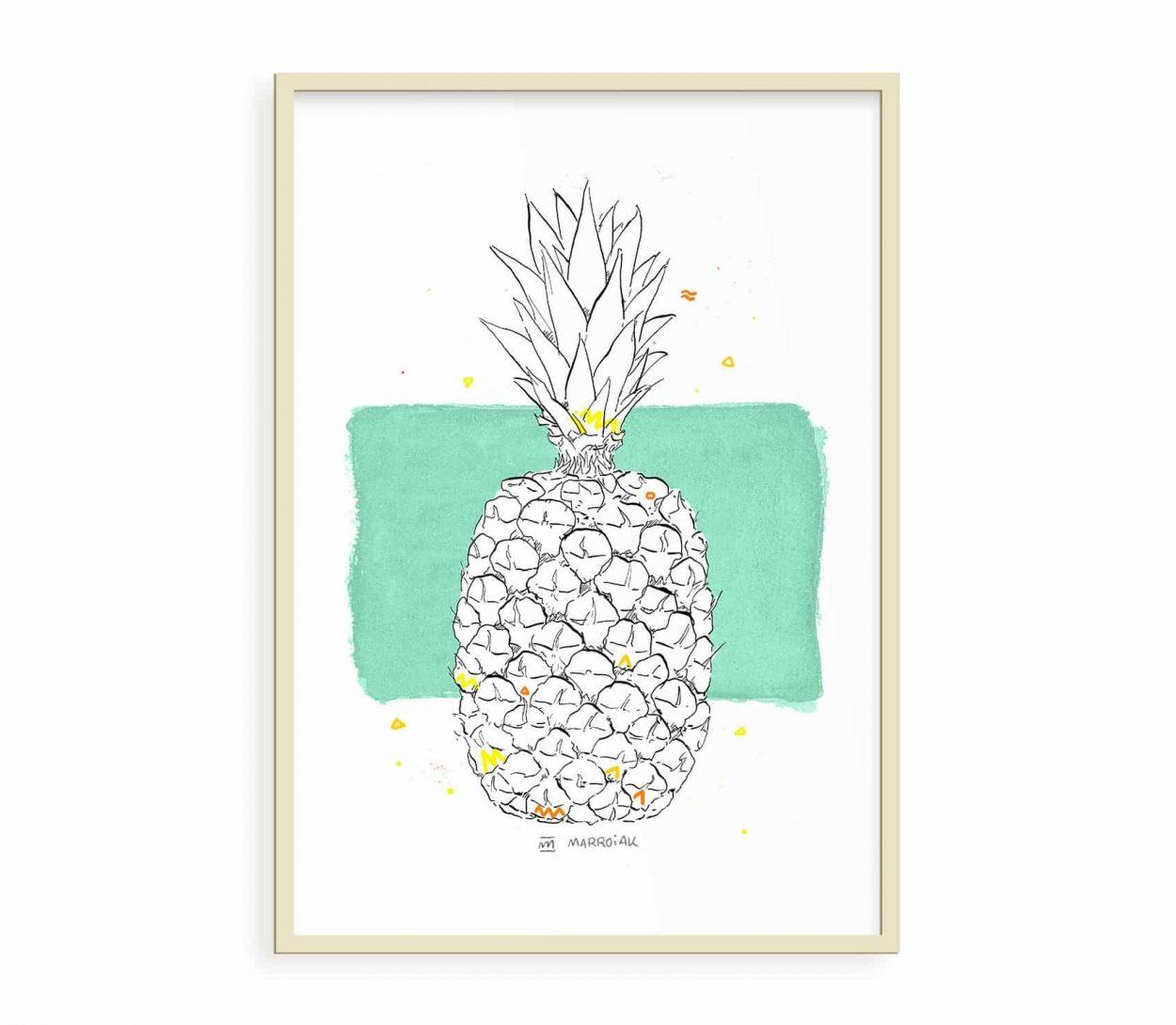Lámina decorativa con ilustración en acuarela de una piña. Cuadros de frutas. Verde y amarillo.
