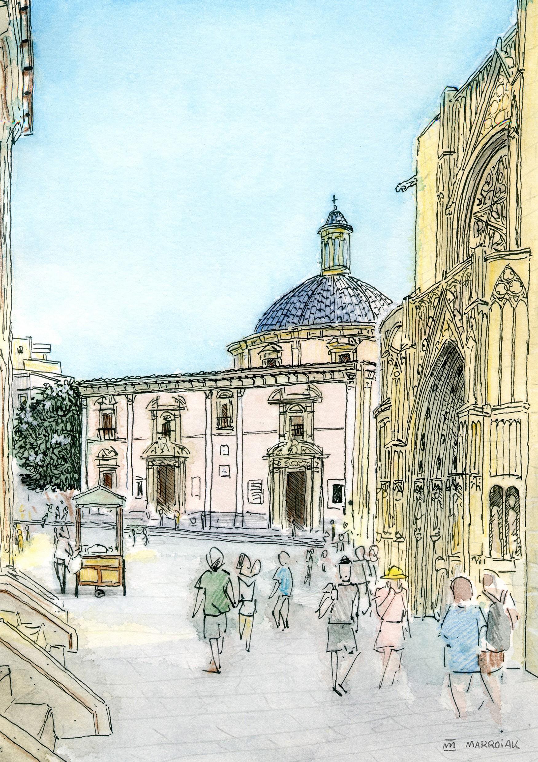 Dibujo en tinta y acuarela sobre papel de la plaza de la virgen en el barrio del carmen en Valencia. Urban Sketchers