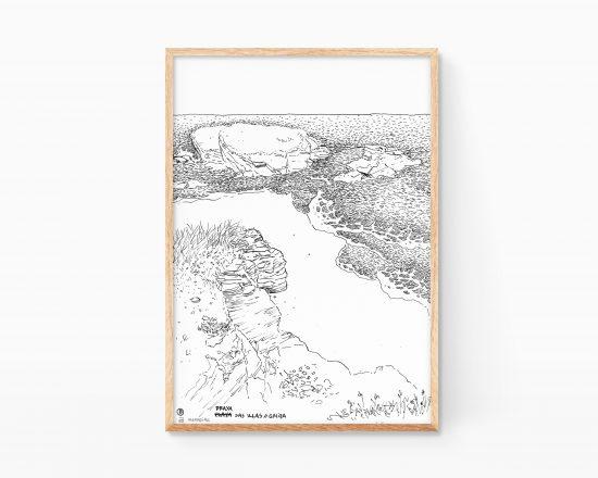 Dibujo en blanco y negro de las playa das illas en galicia (españa). Ilustraciones originales para decorar. Regalos originales.