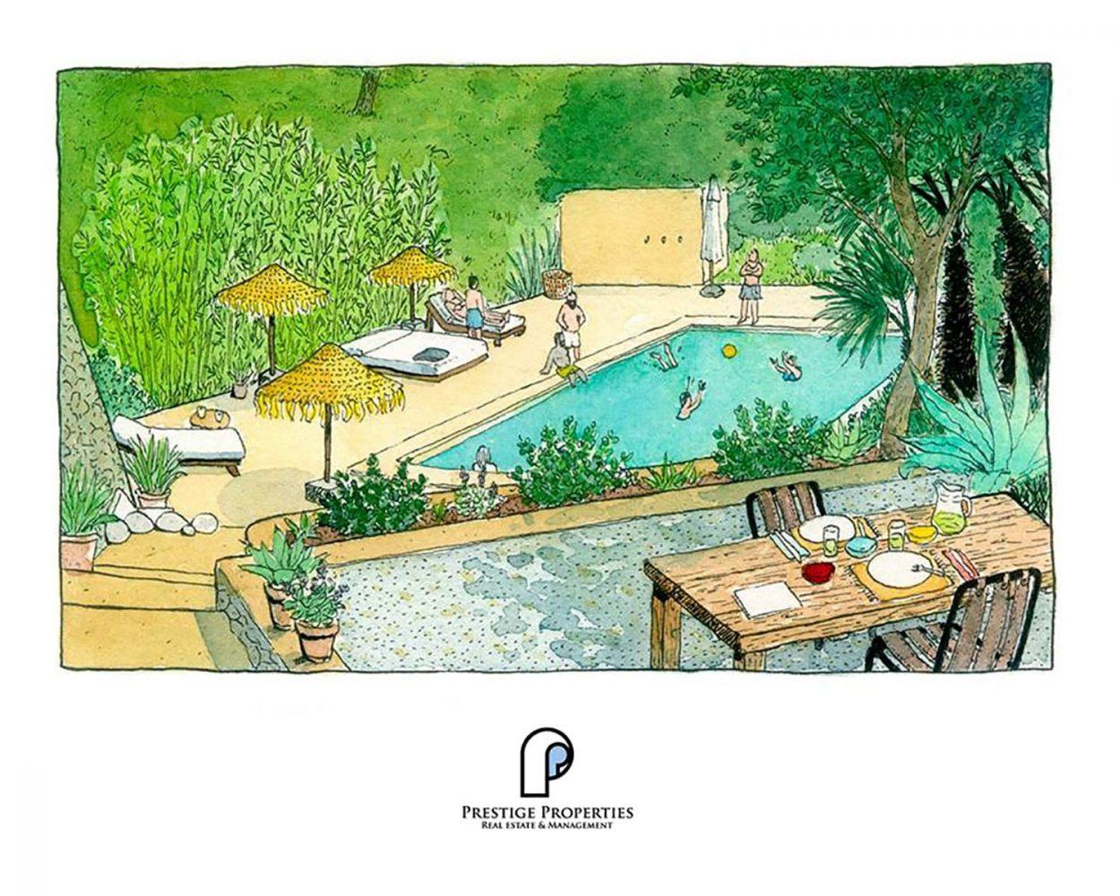 Ilustración con publicidad artesanal para la inmobiliaria de lujo Prestige Properties Ibiza.