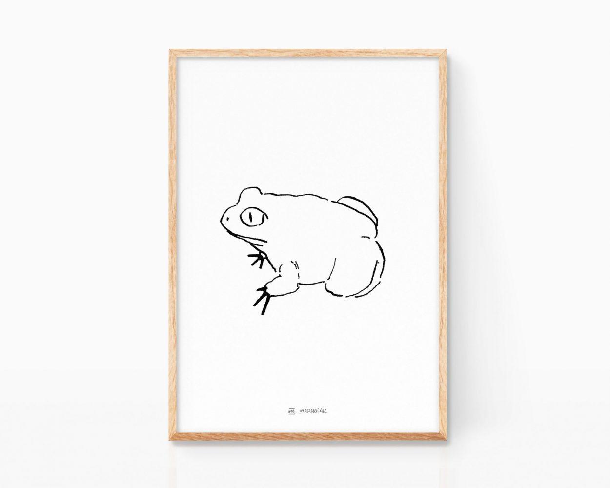 Lámina ilustración en blanco y negro rana comun. Estilo mamarracho minimalista. Tinta sobre papel