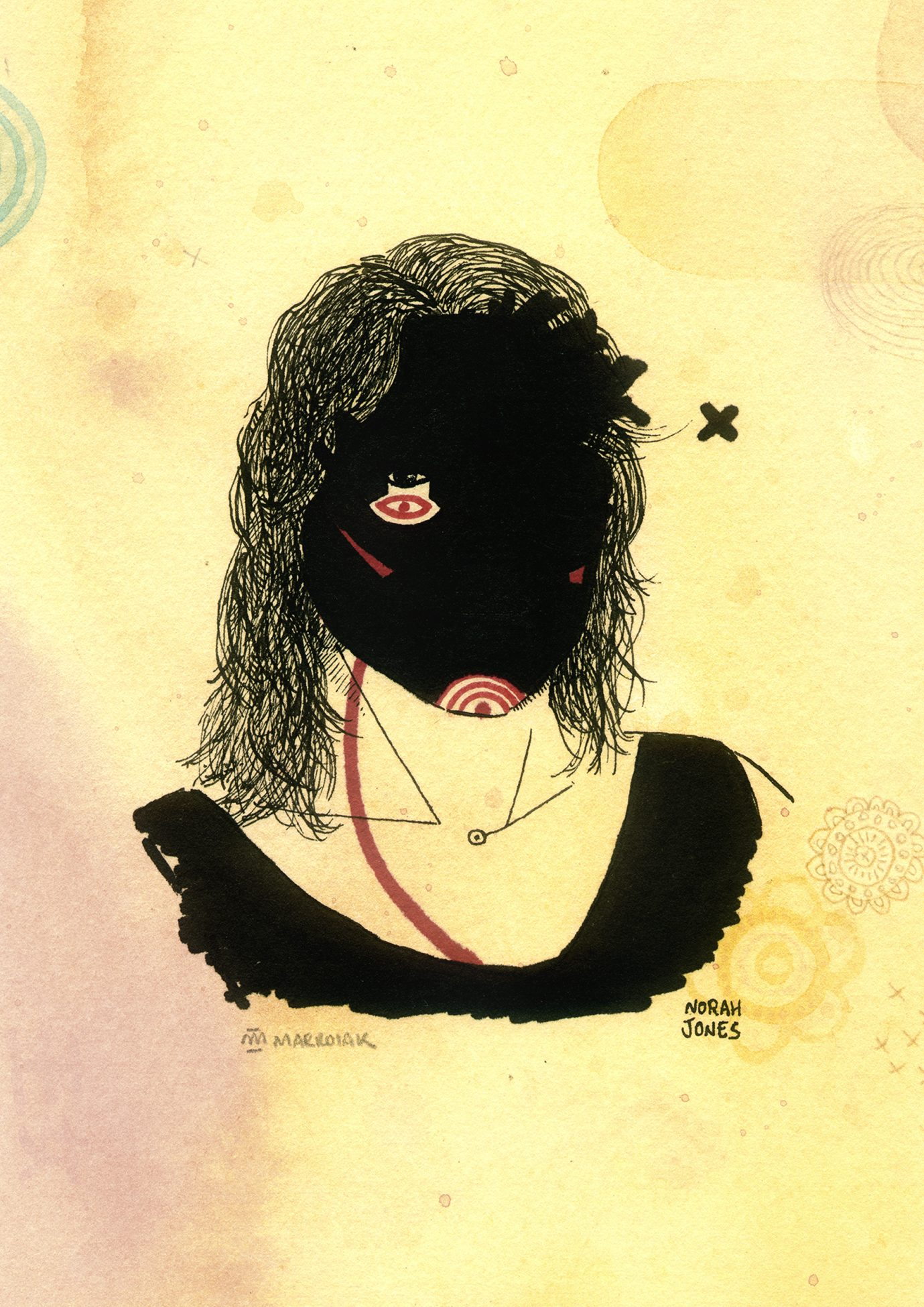 Retrato ilustrado de la cantante norah jones. Acuarela y tinta. Dibujos grunge