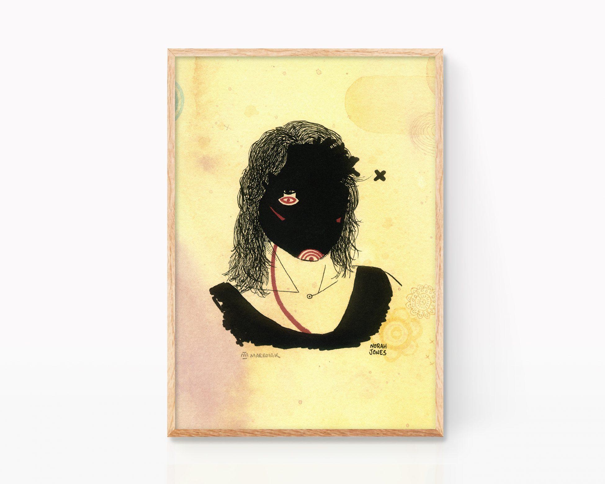 lámina de norah jones. retrato mujeres musico. ilustración