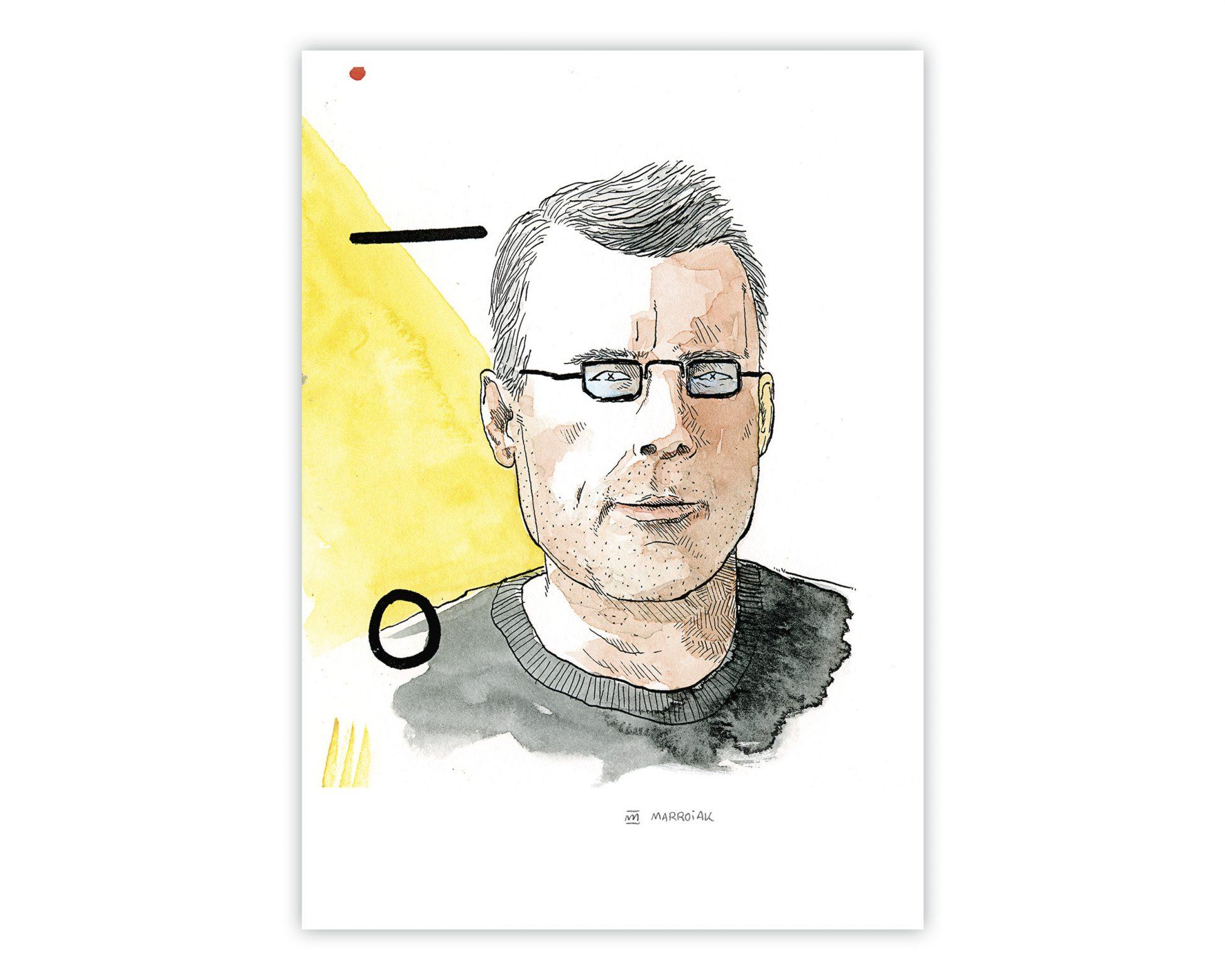 Dibujo retrato stephen king. Ilustración en acuarela