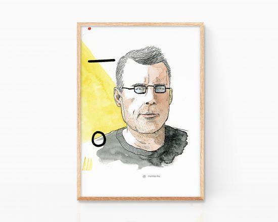 Retrato ilustrado del escritor Stephen King. Dibujo a tinta. Caricatura ilustración.
