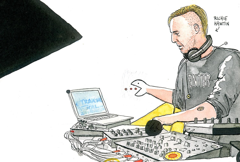 Dibujo en tinta y acuarela del dj y productor Richie Hawtin (Plastikman) durante una sesión. Ilustración, retrato, pintura, techno