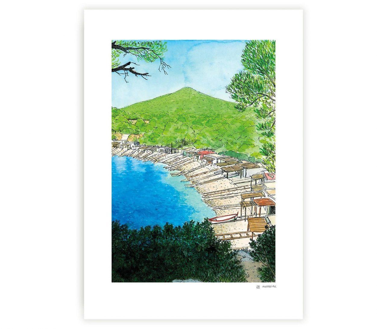 Lámina con una acuarela de la isla de Ibiza. Playa de Sa Caleta. Colección ilustraciones Mediterráneo. Formentera y Baleares. Dibujos hechos a mano