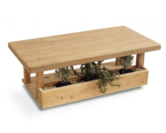 Mesa de centro de madera con macetero integrado. Hecha a mano. Decoración natural, nórdica y mediterránea.