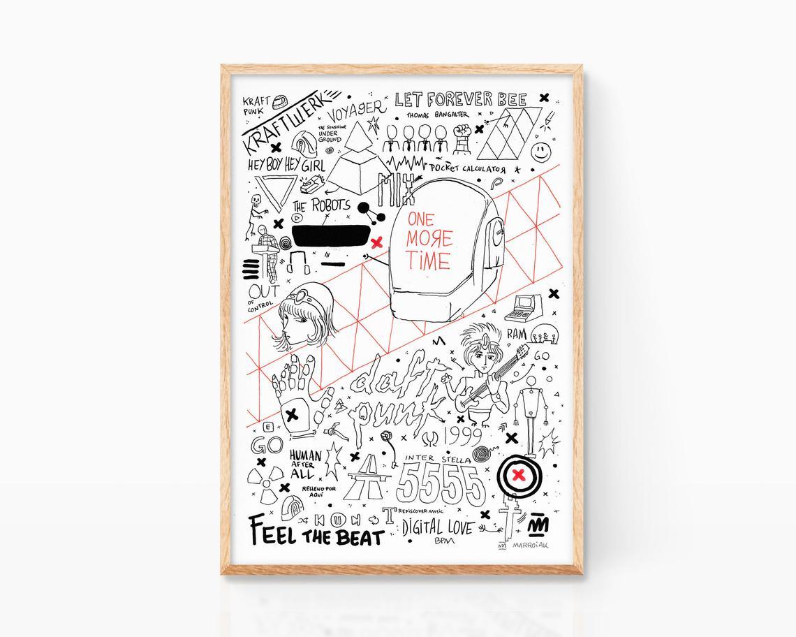Obra gráfica original para comprar online. Serigrafía con una ilustración de Daft Punk, chemical brothers y kraftwerk
