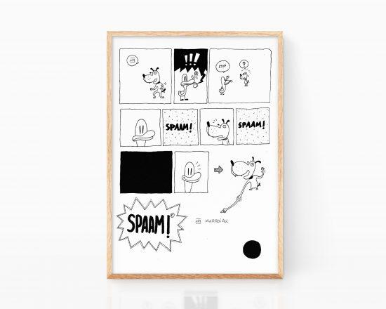 Página de comic experimental en blanco y negro spaam. Perro divertido