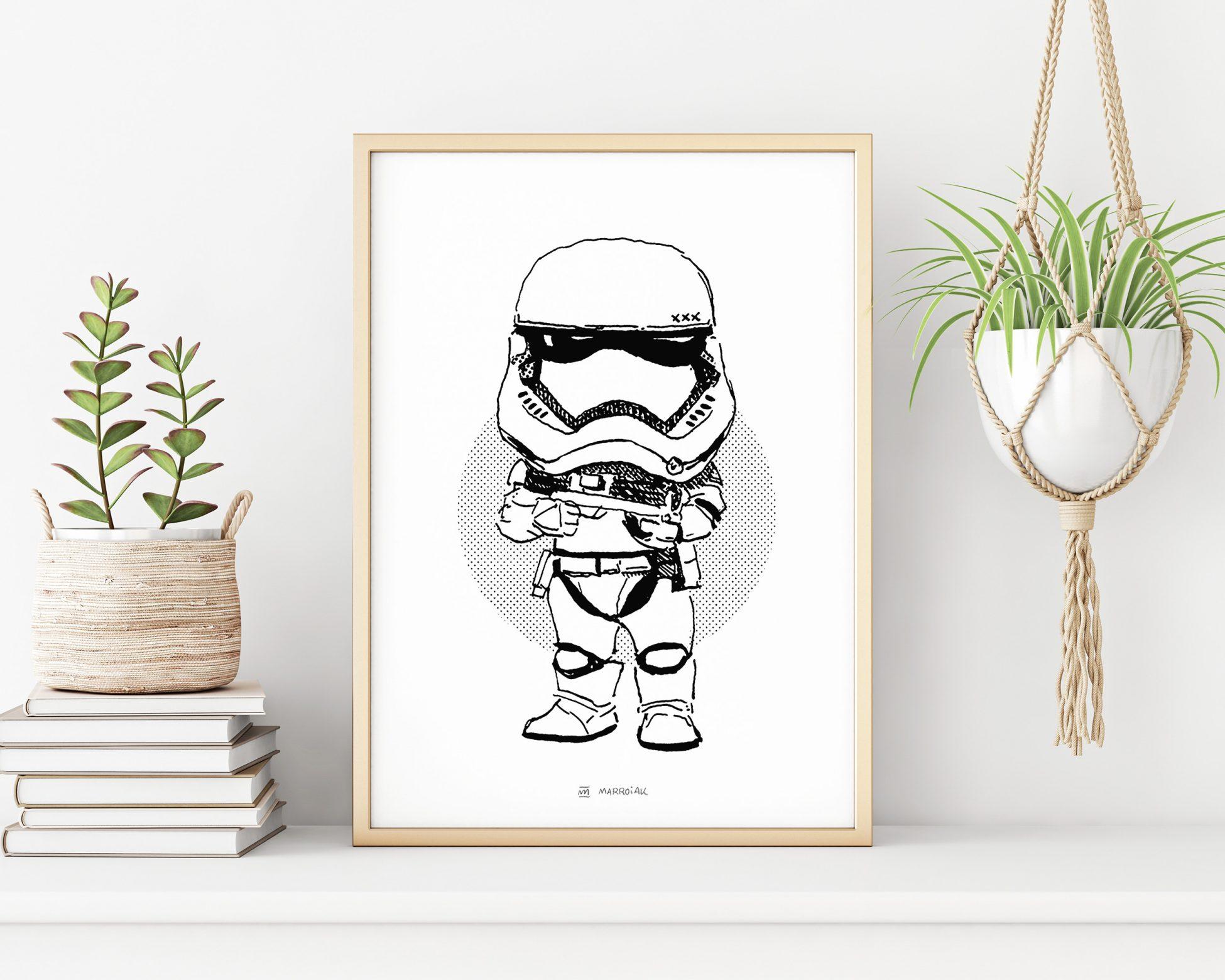 Lámina enmarcada con una ilustración de un Stormtrooper de la saga de películas Star Wars. Dibujo en blanco y negro. Decoración geek.