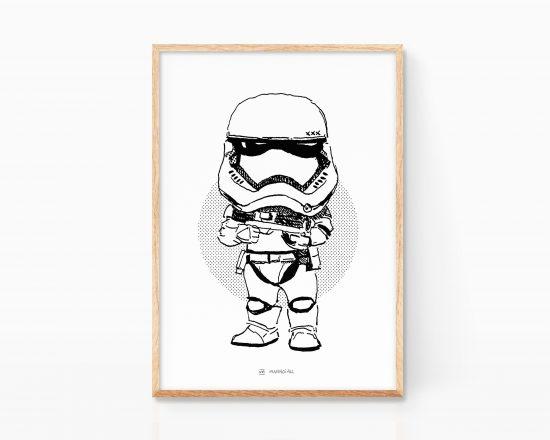 Lámina decorativa en blanco y negro con una ilustración de un soldado imperial Stormtrooper de la saga de películas Star Wars. Dibujo en blanco y negro. Decoración geek Guerra de las galaxias.