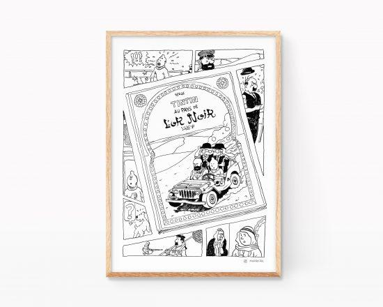 Lámina con una ilustración de la portada tintin en el país del oro negro. Dibujos fake pastiche Remix