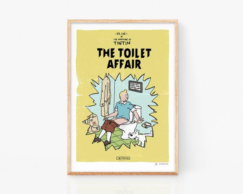 Cuadro decorativo Ilustración de portada falsa de un cómic de tintin de Herge