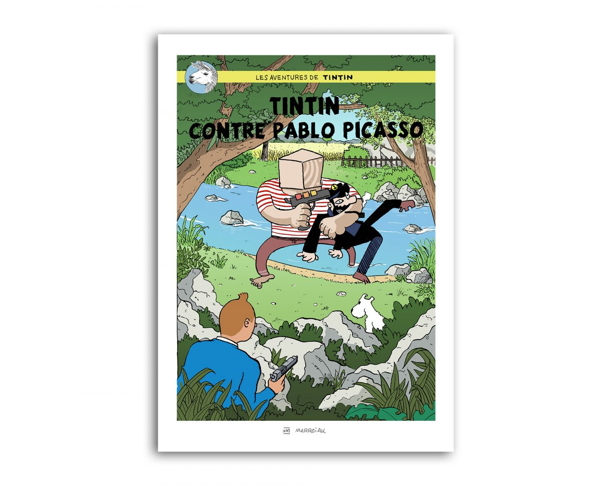 Dibujo de una portada del comic Tintin contra Pablo Picasso. Herge