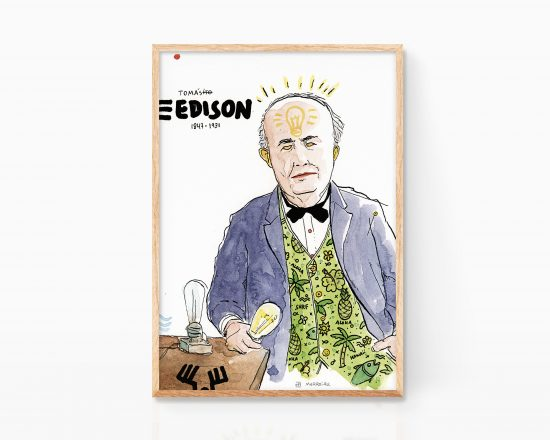 Cuadro con un retrato en acuarela sobre papel de Thomas Edison