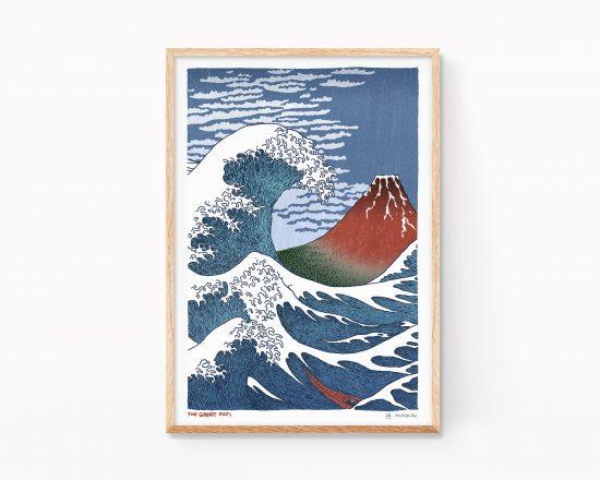 Estampa japonesa ukiyo-e con un mashup de las obras La gran Ola y el Fuji rojo de Katsushika Hokusai. Cuadros decorativos para enmarcar