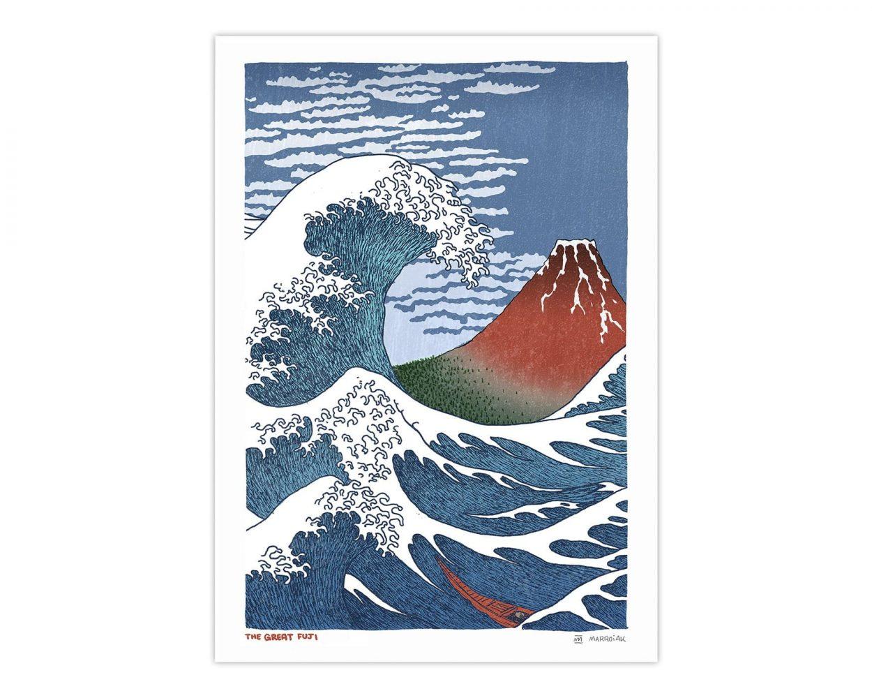Cuadro decorativo con la estampa japonesa la gran ola y el fuji rojo. Ukiyo-e cultura japonesa estilo comic y manga.
