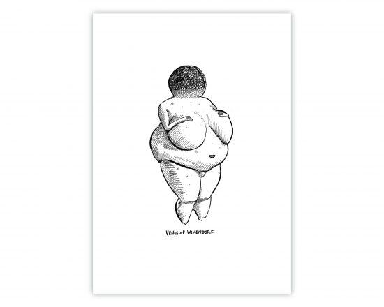 Lámina decorativa Ilustración en blanco y negro de la escultura de una mujer embarazada. Venus de Willendorf. Art primitivo