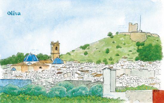 Lámina con una acuarela del casco antiguo de Oliva (Valencia). Acuarela del castillo de Santa Ana y la iglesia de Sant Roc. La Safor