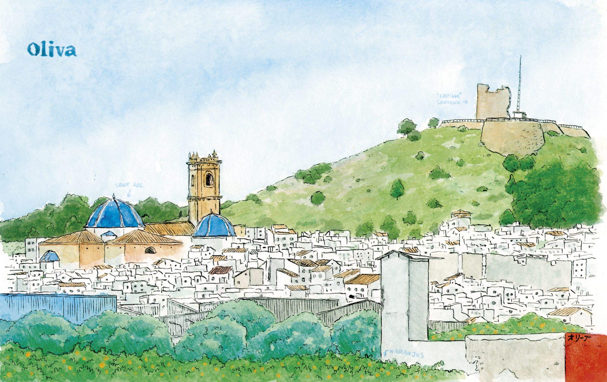 Lámina con una acuarela del casco antiguo del municipio de Oliva (Valencia). Cuadro para enmarcar con una acuarela del castillo de Santa Ana y la iglesia de Sant Roque en La Safor