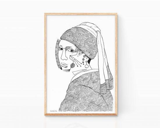 Lámina print dibujo La joven de la perla Johannes Vermeer. Art Remixes dibujo blanco y negro